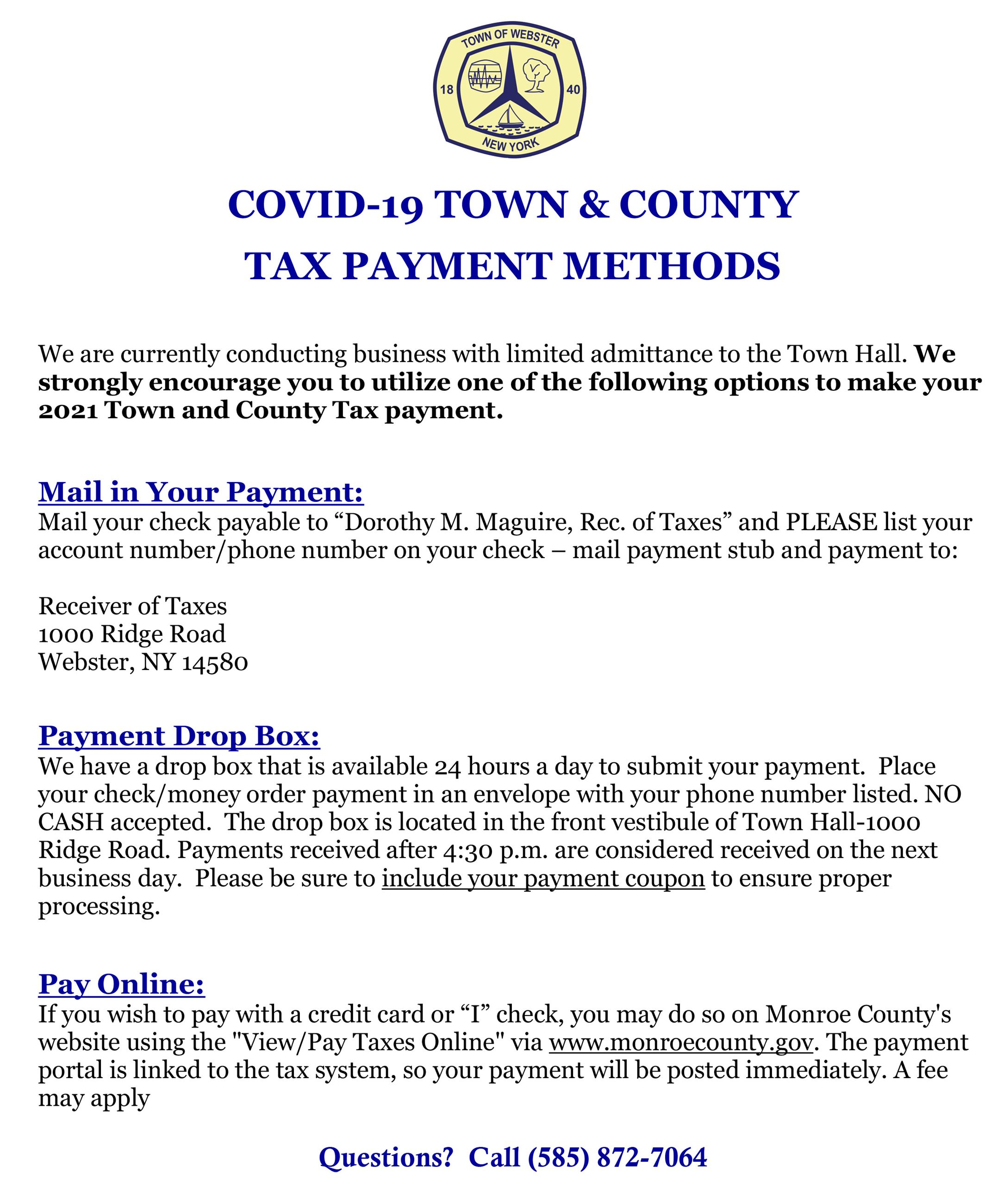 COVID19 Town  County Tax Payment Options